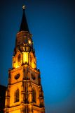 Lit Church Tower At Night Royalty Free Stock Images