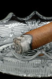Lit Cigar End. Lit cigar sitting in an ashtray Royalty Free Stock Photos