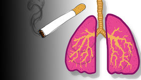 Lit cigarette and lungs, illustration Royalty Free Stock Photo