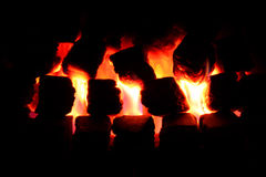 Lit coal fire. Lit coal effect gas fire royalty free stock photo