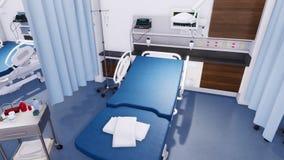 Lit d'hôpital vide dans la chambre de secours de la clinique 3D illustration libre de droits