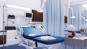Lit d'hôpital vide dans la chambre de secours moderne 3D clips vidéos