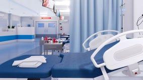 Lit d'hôpital vide dans la fin de chambre de secours vers le haut de 4K illustration libre de droits