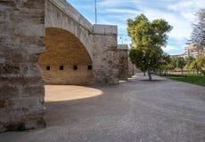 Lit de la rivière sec dans la ville antique de Valencia Spain Photos libres de droits