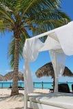 Lit de luxe sur une plage tropicale dans les Caraïbe Image libre de droits