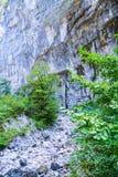Lit de rivière sec profondément en gorge parmi les falaises image stock