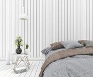 lit de vintage du rendu 3d dans la chambre à coucher en bois blanche propre Image libre de droits