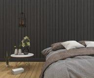 lit de vintage du rendu 3d dans la chambre à coucher en bois foncée propre illustration de vecteur