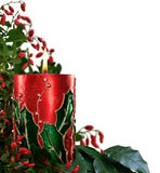 Lit decorated Christmas candle Stock Image
