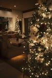 Lit del árbol de navidad con las luces de hadas Fotos de archivo libres de regalías