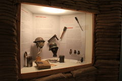 Lit display of war time artifacts surrounded by sandbags,Military Museum,Saratoga Springs,New York,2016 Royalty Free Stock Images