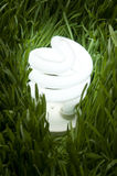 Lit Energy Saving Light BUlb on Green grass Stock Photos