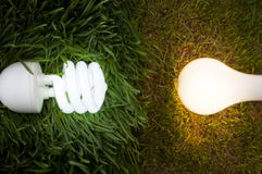 Lit Energy Savings And Incandescent Light Bulb Stock Image