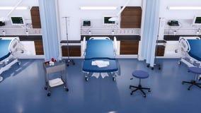 Lit et équipement d'hôpital dans la chambre de secours vide banque de vidéos