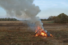 He lit the fire of autumn grass on the field. Autumn a lot of sm Royalty Free Stock Photography
