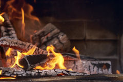 Lit the fire for barbecue Stock Photos