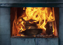 Lit the fire for barbecue Stock Photo