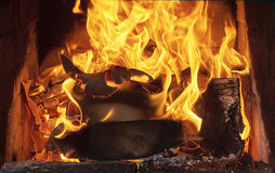Lit the fire for barbecue Stock Image