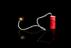 Lit Fuse on an M-80 Firecracker Royalty Free Stock Image