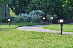 Lit garden path Stock Image