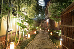 Lit Gravel Walkway. At a Japanese Restaurant Royalty Free Stock Photography