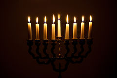The lit of hanukkah candles Royalty Free Stock Images