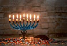 The lit of hanukkah candles in menorah. The lit of hanukkah candles in a menorah stock photography