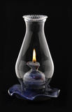 Lit Hurricane Lamp Isolated on black, Stock Images