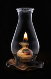 Lit Hurricane Lamp Isolated on black, Royalty Free Stock Image