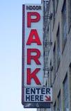 A lit indoor parking sign at a parking garage Royalty Free Stock Photos