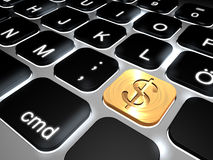 Lit keyboard with special dollar sign key Stock Photography