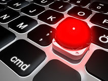 Lit keyboard with special gameshow buzzer key. 3d rendering Royalty Free Stock Photos
