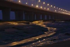 Lit la lámpara del puente más largo del cruz-mar del mundo - puente de la bahía de Hangzhou, a través de los humedales de la bahí Imagen de archivo libre de regalías