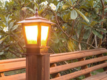 Lit lamp post at the garden Royalty Free Stock Image