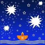 Lit lamp and stars. Indian festival diwali background with lit lamp and stars Royalty Free Stock Image