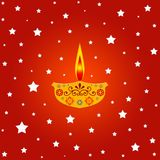 Lit lamp with stars. Indian festival illustration with lit lamp and stars Stock Images