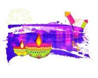Lit-Lampen mit Krachern für Diwali Stockbild
