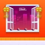 Lit-Lampen verzierten Fenster für Diwali Lizenzfreies Stockfoto
