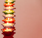 Lit Lamps for the Hindu Diwali Festival Royalty Free Stock Photos
