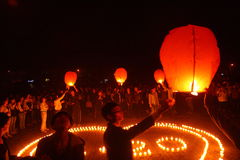 Lit lanterns to pray Royalty Free Stock Photo