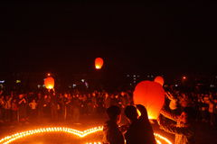 Lit lanterns to pray Royalty Free Stock Photography