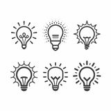 Lit light bulb icons set vector illustration