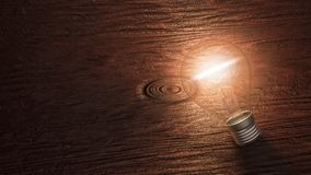 Lit light bulb lying on a wooden background with copy space. Lit up light bulb lying on a wooden background with copy space. Conceptual 3d rendering illustration vector illustration