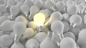 Lit Light Bulb Among Many Royalty Free Stock Images
