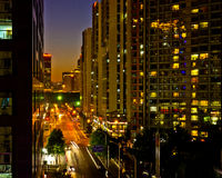 Lit Lights of Beijing CBD. Modern residence community in central district,brilliantly Lit Lights of Beijing CBD Royalty Free Stock Photography
