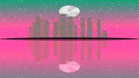Lit moderno da cidade por efeitos da luz coloridos Conceito da animação para a cidade vibrante colorida da skyline, Lua cheia ilustração do vetor