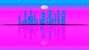 Lit moderno da cidade por efeitos da luz coloridos Conceito da animação para a cidade vibrante colorida da skyline, Lua cheia ilustração royalty free