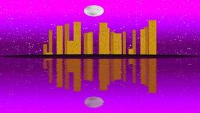 Lit moderno da cidade por efeitos da luz coloridos Conceito para a cidade da skyline, noite da animação da Lua cheia ilustração do vetor