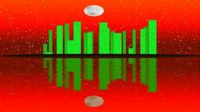 Lit moderno da cidade por efeitos da luz coloridos Conceito para a cidade da skyline, noite da animação da Lua cheia ilustração royalty free