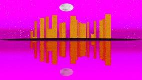 Lit moderno da cidade por efeitos da luz coloridos Conceito para a cidade da skyline, noite da animação da Lua cheia ilustração stock